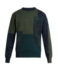 OAMC - Multicolor Paneled Wool-blend Crew-neck Sweater for Men - Lyst