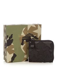 Valentino Black Zip-around Canvas And Leather Wallet for men