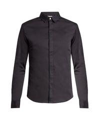 Wooyoungmi   Blue Silk Collar Cotton-poplin Shirt for Men   Lyst