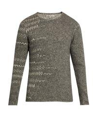 John Varvatos Gray Crew-neck Abstract Sweater for men