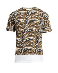 Marni | Multicolor Abstract Leaf-print Round-neck T-shirt for Men | Lyst
