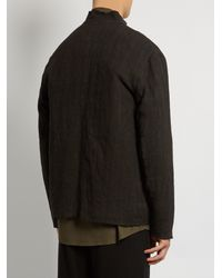 By Walid Black Mandarin-collar Fur-lined Jacket for men
