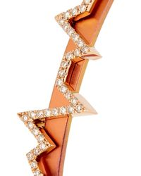 Diane Kordas - Metallic Diamond, Rose-gold & Titanium Heartbeat Cuff - Lyst