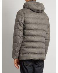 Herno Gray Fur-trimmed Silk And Cashmere-blend Padded Parka for men