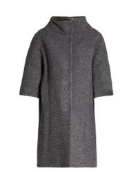 Herno | Gray Detachable-sleeved Funnel-neck Bouclé Coat | Lyst