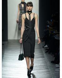 Bottega Veneta | Gray Checked Wool-blend Pencil Dress | Lyst