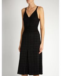 Bottega Veneta - Gray Checked Wool-blend Pencil Dress - Lyst
