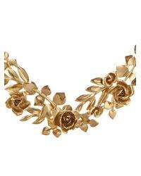 Oscar de la Renta - Metallic Pearly Enamel Flower Statement Necklace - Lyst