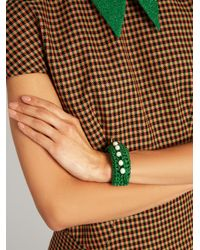 Lucy Folk - Green Pearl Diver Slap Crochet And Pearl Bracelet - Lyst