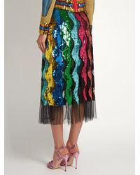 Gucci Multicolor Sequin-embellished Wave Tulle Midi Skirt
