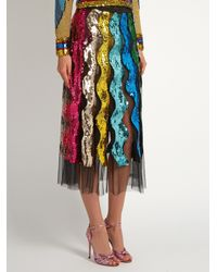 Gucci | Multicolor Sequin-embellished Wave Tulle Midi Skirt | Lyst