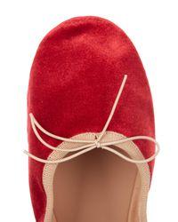 Valentino - Red Rockstud Velvet Ballet Flats - Lyst