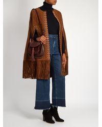 Talitha Multicolor Charu Fringed Suede Cape