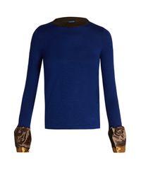 Kolor - Blue Ruffle-trimmed Contrast-neck Wool Top - Lyst