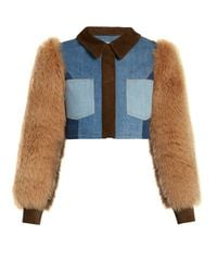 Sonia Rykiel - Blue Fur and Suede-Panel Cropped Denim Jacket - Lyst
