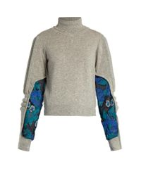 Preen By Thornton Bregazzi | Gray Samuel Roll-neck Contrast-panel Sweater | Lyst