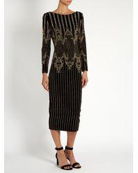 Balmain - Black Stud-embellished Velvet Midi Dress - Lyst