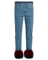 MUVEIL Blue Fur-panel Mid-rise Slim-leg Jeans