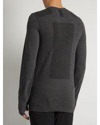 Adidas Originals Gray Seamless Crew-neck Long-sleeved T-shirt for men