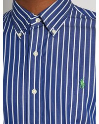 Polo Ralph Lauren Blue Bengal-striped Logo-embroidered Cotton Shirt for men