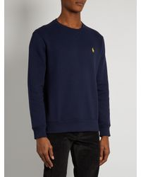 Polo Ralph Lauren Blue Logo-embroidered Crew-neck Cotton-blend Sweatshirt for men