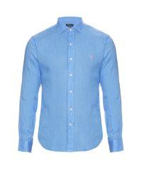 Polo Ralph Lauren Blue Long-sleeved Linen Shirt for men