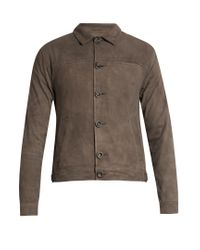 Oliver Spencer | Gray Point-collar Suede Jacket for Men | Lyst