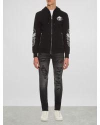 Alexander McQueen Black Skull-embroidered Zip-through Sweatshirt for men