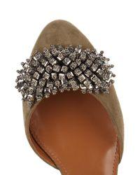 Aquazzura Natural Monaco Bead-embellished Block-heel Suede Pumps