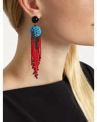 Etro - Red Bead-embellished Tassel Earrings - Lyst