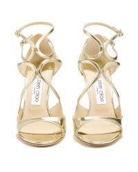 Jimmy Choo - Metallic Lang 100mm Leather Sandals - Lyst