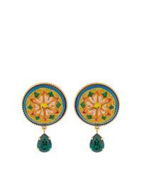Dolce & Gabbana | Green Daisy Crystal-embellished Earrings | Lyst