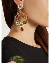 Dolce & Gabbana Metallic Daisy Embellished Hoop Earrings