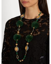 Dolce & Gabbana Green Daisy Fur And Crystal-embellished Necklace