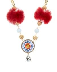 Dolce & Gabbana Red Majolica Fur And Crystal-embellished Necklace