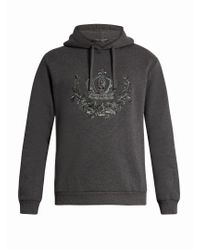 Dolce & Gabbana Gray Crown-embroidered Hooded Cotton-blend Sweatshirt for men