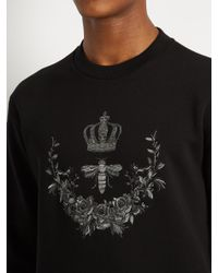 Dolce & Gabbana Black Bee Crest-embroidered Cotton-blend Sweatshirt for men