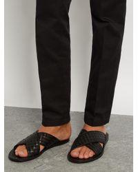 Bottega Veneta Black Intrecciato-leather Cross-strap Sandals for men