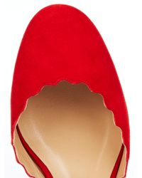 Chloé - Red Lauren Scalloped Suede Flats - Lyst