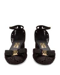 Ferragamo Black Enny Lace Block-heel Pumps