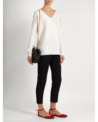 Chloé | White Lace-insert V-neck Wool And Cashmere-blend Sweater | Lyst