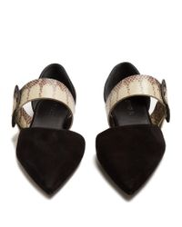 Jil Sander - Black Point-toe Suede And Snakeskin Flats - Lyst