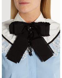 Gucci - Black Bead-embellished Bow Brooch - Lyst