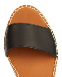 See By Chloé Black Leather Espadrille Wedge Sandals