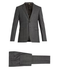 Burberry Gray Checked Notch-lapel Wool Suit for men
