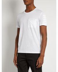 Burberry White Regimental Tape-appliqué Cotton T-shirt for men