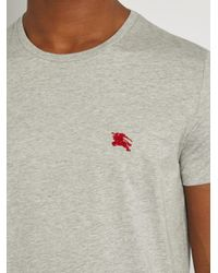 Burberry Gray Tunworth Logo-embroidered Cotton T-shirt for men