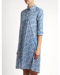 Thierry Colson Blue Angelica Leaf-print Cotton-voile Dress