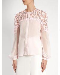 Giambattista Valli Pink Collarless Silk-georgette Blouse