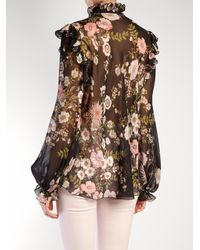 Giambattista Valli Black Floral-print Ruffled Silk-georgette Blouse